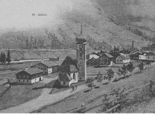 Historische Ansicht: St. Anton am Arlberg um 1810